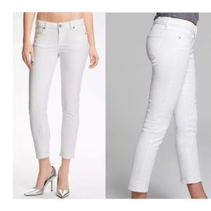 NWT PAIGE Kylie Crop Roll Up White Jeans Sz 25